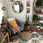 Corner Room Rug, White Wall, Green Chair, Bamboo Shelves, Bamboo Coffee Table With Glass Top, Silver Floor Lamp