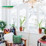 Corner Room, White Floor, White Wall, Glass Windows, Crystal Chandelier, Low Shelves