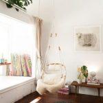 Corner Room, White Wall, Dark Wooden Floor, White Window Seat, Rattan Swing, Wooden Bench