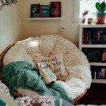 Corner, White Shelves, Rattan Chair, White Cushion