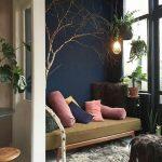 Dark Blue Wall, White Floor, Brown Bench, Grey Rug, Hanging Plants Pots