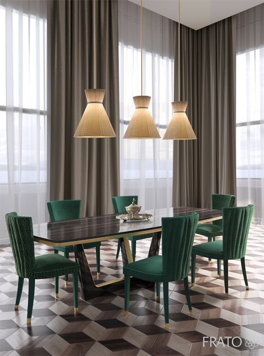 dining room, hexagonal floor tiles, brown curtain, green chairs, brown table, yellow pendants