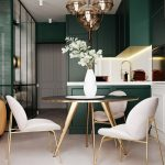 Dining Room, Seamless Floor, Soft Pink Chairs With Golden Lines, Black Golden Table, Dark Green Cabinet, White Cabinet, White Backsplash, Glass Chandelier