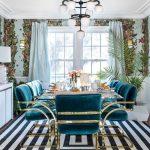 Dining Room, Striped Rug, Flower Wallpaper, Blue Velvet Chairs With Golden Lines, Glass Table, White Chandelier