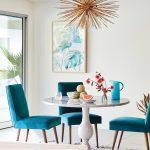 Dining Room, White Floor, White Rug, Blue Velvet Chair With Wooden Legs, White Marble Tulip Table, White Wall