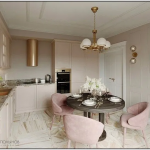 Dining Room, White Marble Floor, Soft Pink Cabinet, White Wall, Marble Counter Top, Chandelier, Black Round Table