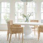 Dining Room, Wooden Floor, Rattan Rug, White Round Table, Rattan Chairs, White Pendant