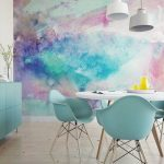 Dining Room, Wooden Floor, Watercolor Wallpaper, Blue Cabinet, White Round Table, White Pendants