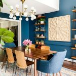Dining Room, Wooden Floor, Wooden Table, Brown Wooden Chairs, Blue Chairs, White Chandelier, Wooden Shelves