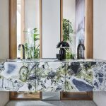 Floating Colorful Marble Vanity, Indented Sinks, Tall Mirror With Wooden Frame