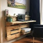 Floating Wooden Study Table, White Wall, Back Chair