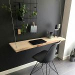 Floating Wooden Table, Black Modern Chair, Black Wall, White Wall, Grey Floor