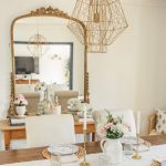Golden Line Framed Mirror, White Wall, Wooden Dining Table, Golden Lines Pendant, Wooden Console Table, Wooden Dining Table, White Chairs