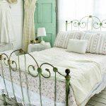 Green Metal Bed Frame, White Wooden Shiplanks, White Wooden Floor, White Side Table, White Table Lamp