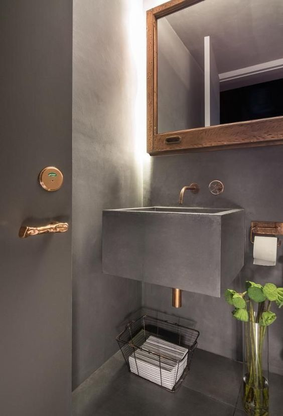 grey bathroom, concrete, floating vanity sink, mirror