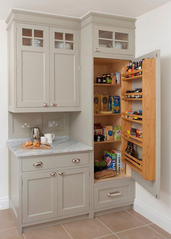 grey cupboard, grey marble counter top, wooden shelves on the door