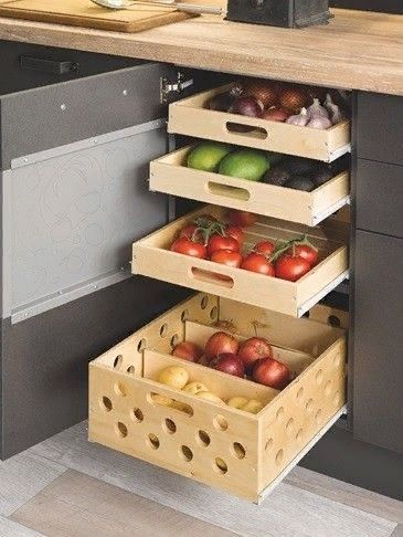 grey kitchen cabinet, sliding boxes, sliding trays, wooden counter top