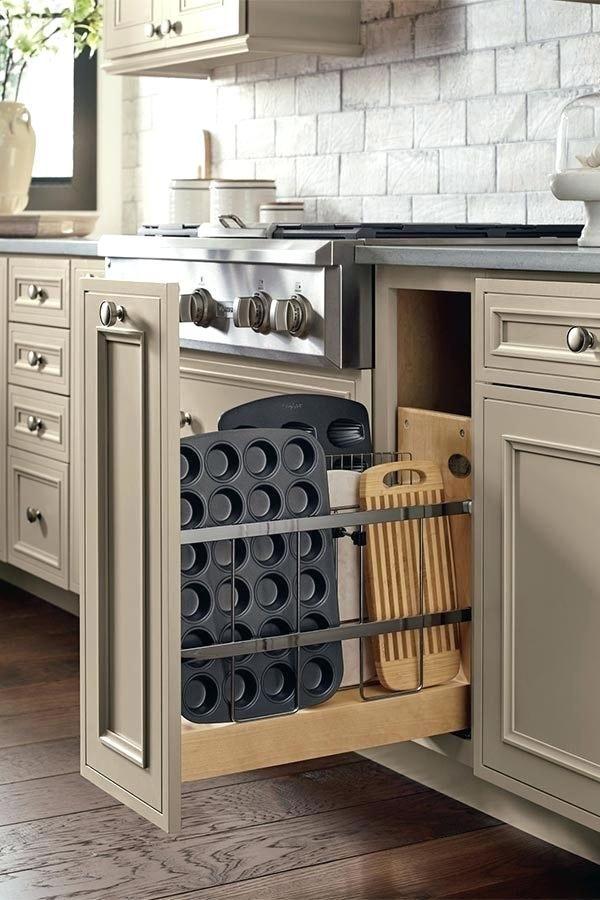 grey kitchen cabinet, sliding storage, vertical storage, black counter top