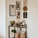 Hallway, Wooden Floor, White Wall, Black Iron Framed Console Table
