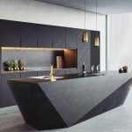 Kitchen, Grey Wall, Black Cabinet, Black Marble Island, Golden Pendants, Indented Backsplash