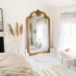Large Golden Framed Mirror, White Wooden Floor, White Wall, Whtie Rug