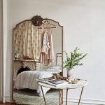 Large Siple Line Framed Mirror, Wooden Floor, White Marble Round Table