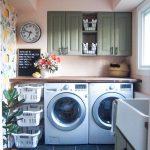 Laundry Room, Black Floor Tiles, Flowery Wallpaper, Cream Wall, Wooden Table, White Basket Shelves, Green Cabinet,