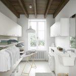 Laundry Room, White Floor, White Wall, White Cabinet, White Shelves, White Pendants, White Sink