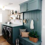 Laundry Room, Wooden Floor, Dark Green Wooden Board Wih Cabinet, Drawers, Floating Shelevs