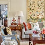 Living Room, Brown Rug, White Wall, Grey Sofa, Blue Chairs, Elephant Decoration, China Table Lamp, Paintings