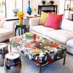 Living Room, Grey Patterned Rug, Patterned Ottoman For Coffee Table, Silver Ottomans, White Sofas, Side Table,