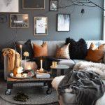 Living Room, Grey Wall, Grey Rug, Grey Sofa, Wooden Coffee Table With Roll, Grey Ottoman