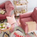 Living Room, White, Pink Velvet Chairs, Pastel Colored Rug, Wooden Round Small Coffee Table, Golden Framed Glass Side Table