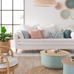 Living Room, White Wooden Floor, White Wall, White Sofa, Blue Coffee Table, Rattan Chair, Rattan Pendant, Rattan Rug
