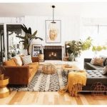Living Room, Wooden Floor, Rug, Brown Sofa, Grey Cornered Sofa, Wooden Coffee Table, Fireplace, White Wooden Wall
