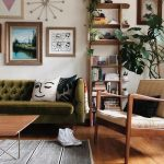 Living Room, Wooden Floor, White Wall, Green Tufted Sofa, Wooden Chair, Wooden Table, Wooden Shelves