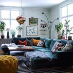 Living Room, Wooden Floor, White Wall, Green Velvet Corner Sofa, Mustard Tufted Ottoman, Wooden Square Coffee Table, Copper Pendants