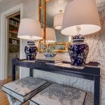 Mirror With Frame Like Bamboo, Blue Wooden Table, White Patterned Stools