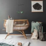 Nursery, White Floor, Black Wall, Rattan Crib