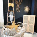 Nursery, White Floor, Black Wall, Rattan Crib, Wooden Rack, Wooden Rattan Cupboard
