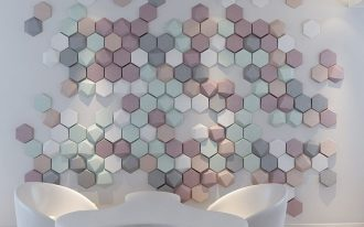 pink green white hexagonal accents, white chairs, white table
