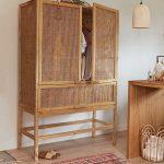 Rattan Cabinet, Wooden Floor, Patterned Floor