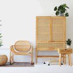 Rattan Chair, Rattan Cabinet, White Wall