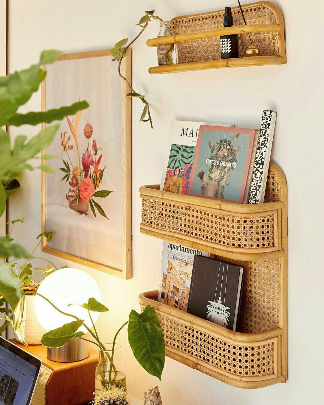 rattan floating shelves, white wall
