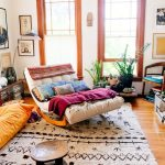 Rocking Sofa, Wooden Floor, White Sofa, White Patterned Rug