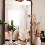 Simple Line Frame Mirror, On The Wooden Table