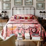 Simple Metal Bed Frame, Pink Bedding, Wooden Floor, White Wall, Side Table