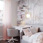 Small Bedroom, White Patterned Wallpaper, Wooden Floor, Grey Bed Platform, White Cushion, White Table, White Floating Shelves, Grey Polka Dot Round Chair