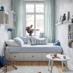 Small Bedroom, White Wallpaper, White Wooden Floating Shelves And Boxes, White Bed Platform With Drawers, Wooden Floor, Grey Rug