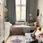Small Bedroom, Wooden Floor, Light Sage Green, White Metal Bed Platform, Pink Blanket, White Cabinet, White Cupboard
